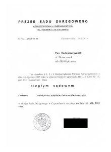 Biegły Sądowy z zakresu badań pisma ręcznego, podpisów, dokumentów i pieczątek przy Sądzie Okregowym Częstochowa