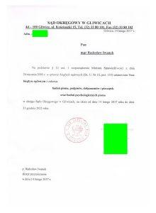 Z dniem 14 lutego 2017 roku Prezes Sądu w Gliwicach wydał decyzje o wpisaniu na kolejną kadencję jako biegłego sądowego