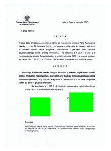 SO Jelenia Góra - przedłużenie kadencji Biegłego Grafologa