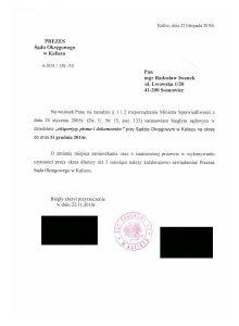 Biegły Sądowy zzakresu badań pisma ręcznego, podpisów, dokumentów ipieczątek przy Sądzie Okregowym Kalisz