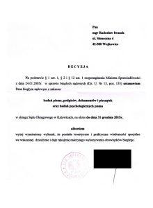 Biegły Sądowy zzakresu badań pisma ręcznego, podpisów, dokumentów ipieczątek orazbadań psychologicznych pisma przy Sądzie Okręgowym Katowice