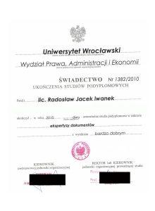 Absolwent Katedry Kryminalistyki Uniwersytetu Wrocławskiego